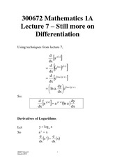 Lecture 7 - Still more on Differentiation