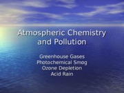 Atmospheric Chemistry and Pollution