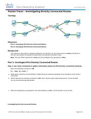 4.3.2.5 Packet Tracer - Investigating Directly Connected Routes Instructions