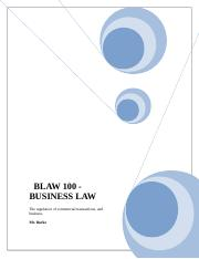 BLAW 100 - Comapnies and partnerships.doc