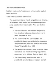 The Alien and Sedition Acts Lecture