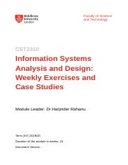 Cst2310 Weekly Exercises Docx Faculty Of Science And Technology Cst2310 Information Systems Analysis And Design Weekly Exercises And Case Studies Course Hero