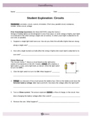 circuit builder - Name Date Student Exploration Circuit ...