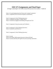 EDU 675 Assignments and Final Paper.docx