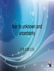 7 fear to unknown and uncertainty
