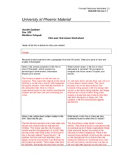 film and television worksheet