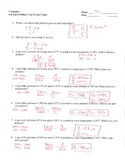 Gas Laws Packet - Key - Chemistry Name HE'er Gas Laws Packet Gay ...