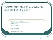 10- APT and Multi Factor Models
