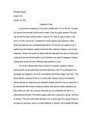 Diagnostic essay topics