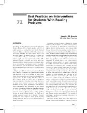 Best Practices - Reading Intervention