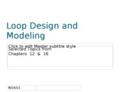 Ch.12 and 16 Loop Design and Modeling exam 2