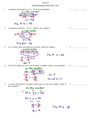 Word problems practice test