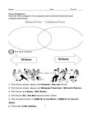 Forces Worksheet 1 Doc Name Date Period Forces Worksheet 1 Use The Venn Diagram To Compare And Contrast Balanced And Unbalanced Forces Circle The Best Course Hero