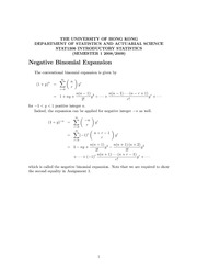 Chapter 3 Random Variables  Appendix (Negative Binomial Expansion)