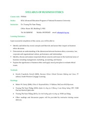 SYLLABUS OF BUSINESS ETHICS_K54