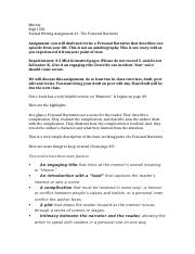 engl1301 Personal Narrative handout with notes.docx
