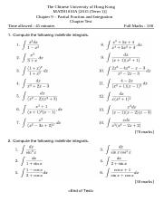 Chapter 9 Partial Fractions and Integration Test.docx