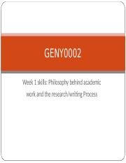GENY0002 2016 Week 1 skills - Reading and writing process
