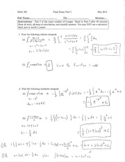 Calc 165 Spring 2010 Final (Answers)