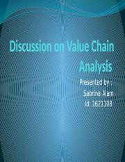 Discussion on Value Chain Analysis