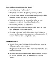 Informal Economy Introduction Notes