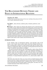 WK09B_Walt_The relationship between theory and policy in ir