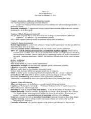 Mkt 351Winter 2011  -- Study Guide 1