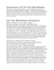 in his blindness