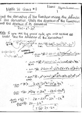 Math 21 Quizzes 1 & 2 Solutions