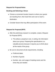 Request for Proposal Notes