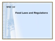 Food Laws Regs  Fall 2012