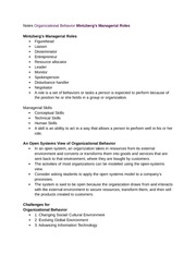 Notes Organizational Behavior Mintzberg