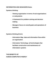 INFORMATION AND MANAGERS Notes