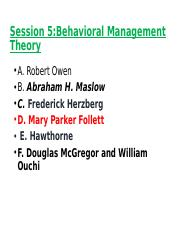 Session 5- Behavioral Management Theory