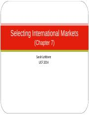 Lecture 7 - Selecting International Markets