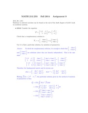 MATH 255 Fall 2014 Assignment 9 Solutions