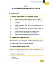 355602116 13 Audit Investigatif Dengan Teknik Audit Pdf Modul Akuntansi Forensik Dan Audit Investigatif Bab 13 Audit Investigatif Dengan Teknik Audit Course Hero