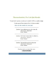 CHE2B-Thermochemistry Pre-Lab Quiz Answers