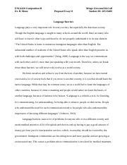 Proposal Essay II - Language Barriers