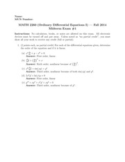 MATH 2260 Fall 2014 Midterm 1 Solutions
