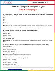 2016 Rio Olympics & Paralympics Questions & Answer PDF by AffairsCloud