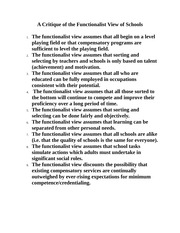 Critique of the Functionalist View of Schools Fall2012