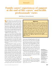 Family carers' experiences of support at the end of life carers' and health professionals' views..pd