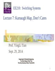 EE 210 Lecture on Karnaugh Maps