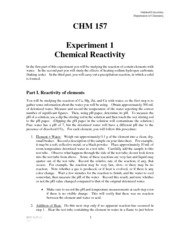 CHM 157 Experiment 1