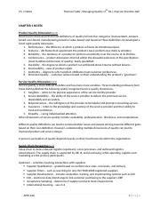 Ch 1 Notes - Managing Quality 5th ed.