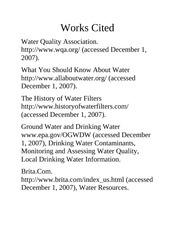 chem water filter Works Cited