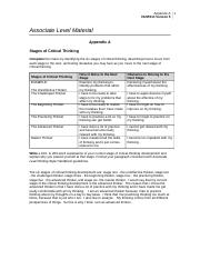 stages of critical thinking appendix a