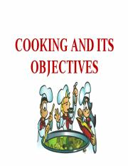COOKING AND ITS OBJECTIVES