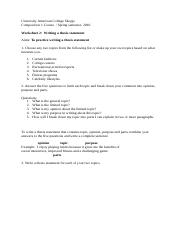 Worksheet 2 writing thesis statements